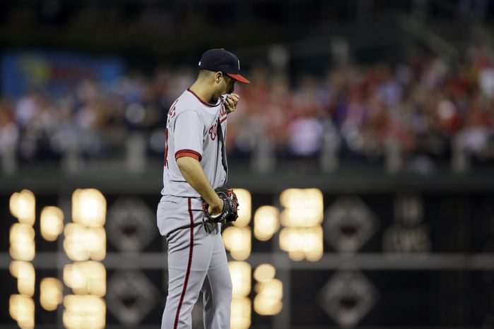 Gio Gonzalez rebounded from a rough first inning to get through the next five scoreless. (Associated Press)
