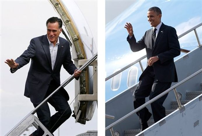 FILE - In these Sept. 2012, file photos Republican presidential candidate Mitt Romney, left, boards a plane in Denver, Colo, and President Barack Obama gets off a plane in Tampa, Fla., during an intense campaign in competitive states. Obama and Romney each have a specific mission for the string of three debates that starts Wednesday night, Oct. 3, 2012. Obama, no longer the fresh face of 2008, must convince skeptical Americans that he can accomplish in a second term what he couldn't in his first: restore the U.S. economy to full health. Romney, anxious to keep the race from slipping away, needs to instill confidence that he is a credible and trusted alternative to the president, with a better plan for strengthening the fragile economy. (AP Photos)