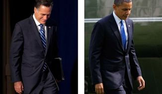 Republican presidential candidate Mitt Romney (left) arrives to campaign in Springfield, Va., and President Obama arrives back at the White House after campaigning in Virginia Beach on Thursday, Sept 27, 2012. (AP Photos)