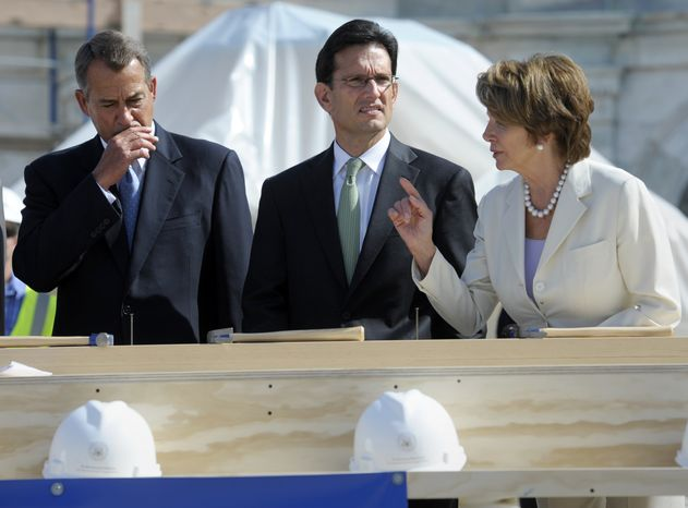 House Democratic Leader Nancy Pelosi, D-Calif., right talks with Speaker of the House John Boehner, R-Ohio, left and House Majority Leader Eric Cantor, R-Va, center, during the First Nail Ceremony for the official launch of construction of the Inaugural platform where the President of the United States will take the oath of office on the West Front of the U.S. Capitol in Washington, Thursday, Sept. 20, 2012. (AP Photo/Cliff Owen)