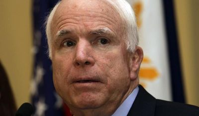 ** FILE ** Sen. John McCain, Arizona Republican (AP Photo/Pat Roque)