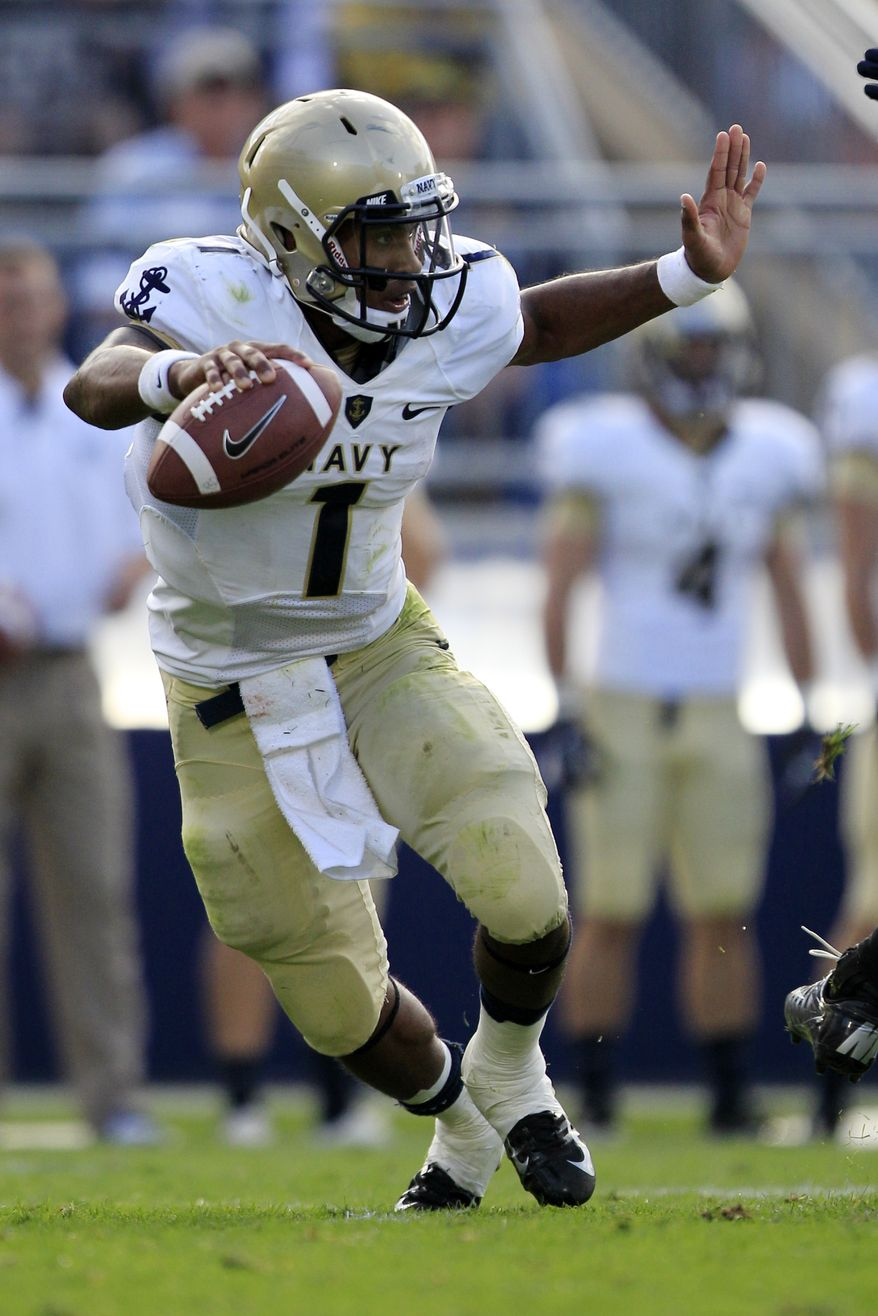 Trey Miller threw for only 42 yards and rushed for 28 in Navy's loss to San Jose State on Saturday. (AP Photo/Gene J. Puskar)
