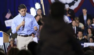 Rep. Paul Ryan, the Republican vice presidential candidate, speaks during a campaign event on Saturday, Sept. 29, 2012, in Derry, N.H. (AP Photo/Jim Cole)