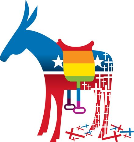 Illustration Christians Leaving Democrats by Linas Garsys for The Washington Times