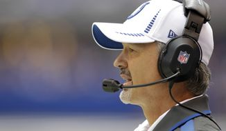 Indianapolis Colts head coach Chuck Pagano watches Sept. 23, 2012, from the sideline during the first half of the Jacksonville Jaguars' 22-17 road win over the Colts. (Associated Press)
