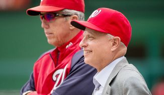 Washington Nationals manager Davey Johnson (5), left, and Owner Mark Lerner. (Andrew Harnik/The Washington Times)