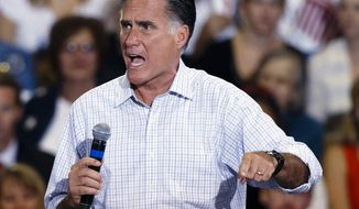 **FILE** Republican presidential candidate Mitt Romney speaks on Sept. 26, 2012, in Toledo, Ohio. (Associated Press)