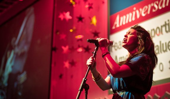 Singer Krista Branch belts out one of her songs during the evening banquet as part of the 30th anniversary celebration of The Washington Times at the Marriott Wardman Park Hotel in Washington, D.C., Tuesday, Oct. 2, 2012. (Rod Lamkey Jr./The Washington Times)