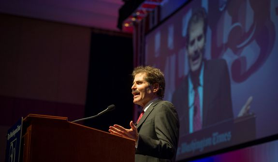 John Stossel offers remarks during the evening banquet as part of the 30th anniversary celebration of The Washington Times at the Marriott Wardman Park Hotel in Washington, D.C., Tuesday, Oct. 2, 2012. (Rod Lamkey Jr./The Washington Times)