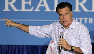 **FILE** Republican presidential candidate Mitt Romney speaks Sept. 26, 2012, in Westerville, Ohio. (Associated Press)