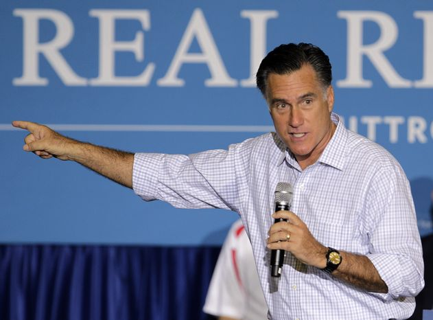 FILE - In this Sept. 26, 2012 file photo, Republican presidential candidate, former Massachusetts Gov. Mitt Romney speaks in We