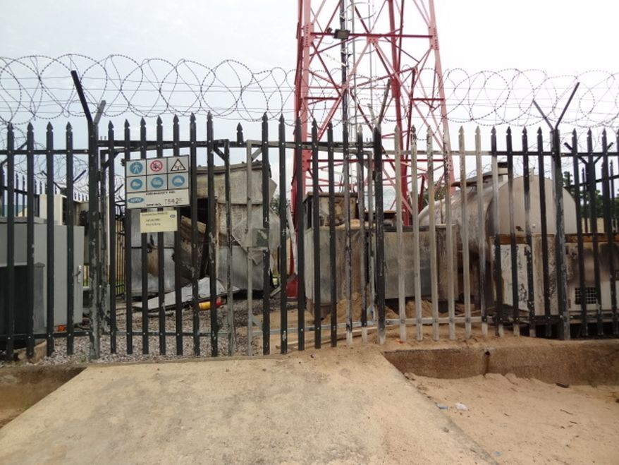 Communications-tower equipment partially destroyed by Boko Haram is pictured in Maiduguri, Nigeria, on Friday, Sept. 7, 2012. (AP Photo/Haruna Umar)