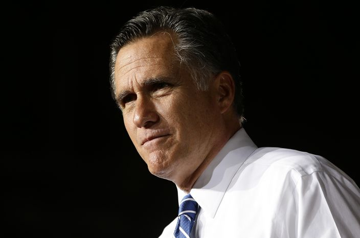 Republican presidential candidate Mitt Romney campaigns at Wings Over the Rockies Air and Space Museum in Denver on Monday, Oct. 1, 2012. (AP Photo/Charles Dharapak)