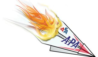 Illustration American Airlines Sabotage by John Camejo for The Washington Times