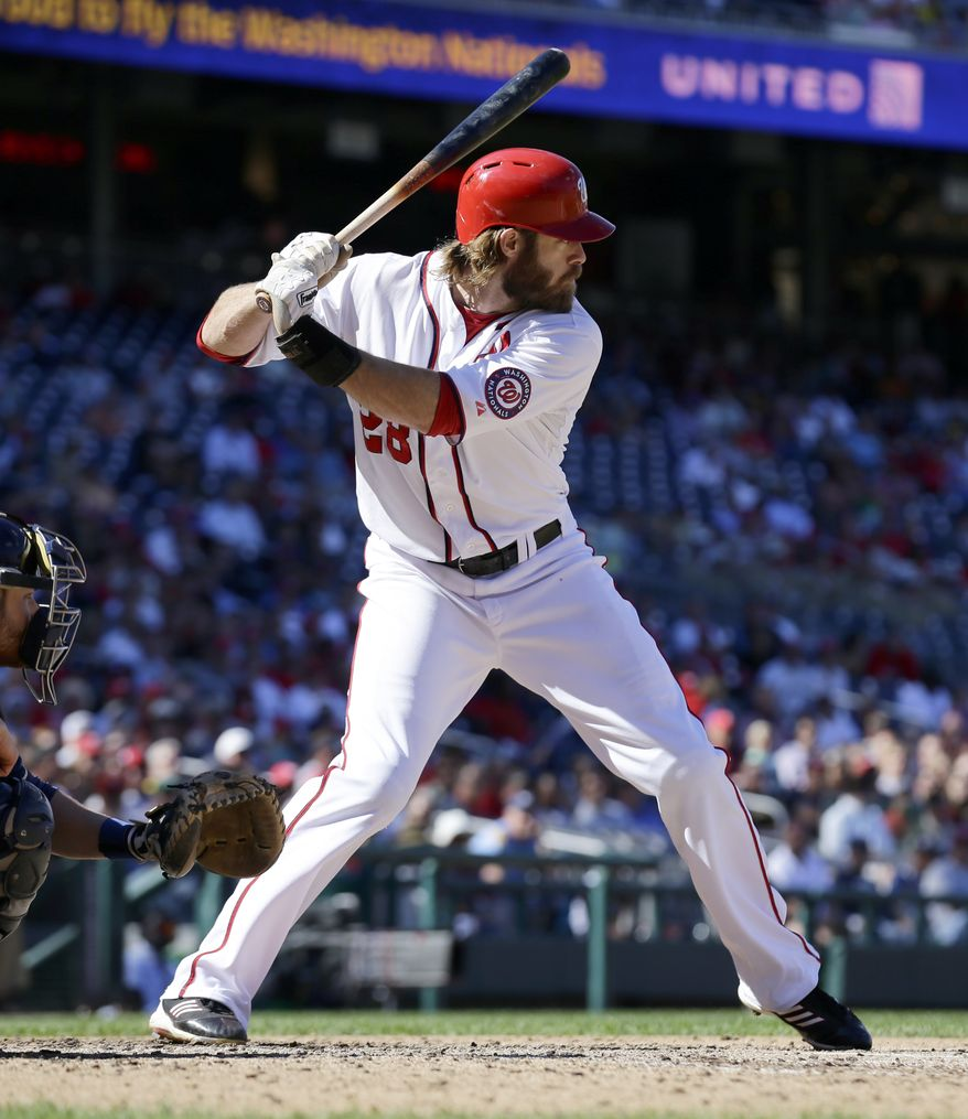 Washington Nationals right fielder Jayson Werth bats during a baseball game against the Milwaukee Brewers at Nationals Park Monday, Sept. 24, 2012, in Washington. The Nationals won 12-2. (AP Photo/Alex Brandon)