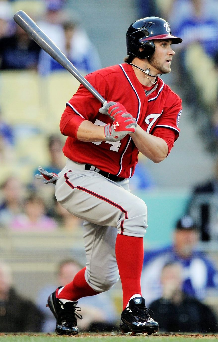 APRIL 28: Injuries to the middle of the order forced general manager Mike Rizzo to call up outfielder Bryce Harper from Triple A Syracuse earlier than planned. The 19-year-old phenom went 1 for 3 in a 4-3 loss to the Dodgers in his debut and has never looked back.