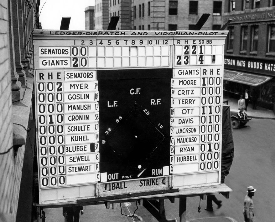 FILE- In this Oct. 3, 1933, file photo, a scoreboard showing Game 1 of baseball's World Series between the Washington Senators and New York Gians is displayed outside a building in Norfolk, Va. In clinching a playoff spot, the Nationals put the nation's capital in baseball's postseason for the first time in nearly 80 years. (AP Photo/Virginian-Pilot, Charles S. Borjes, File)
