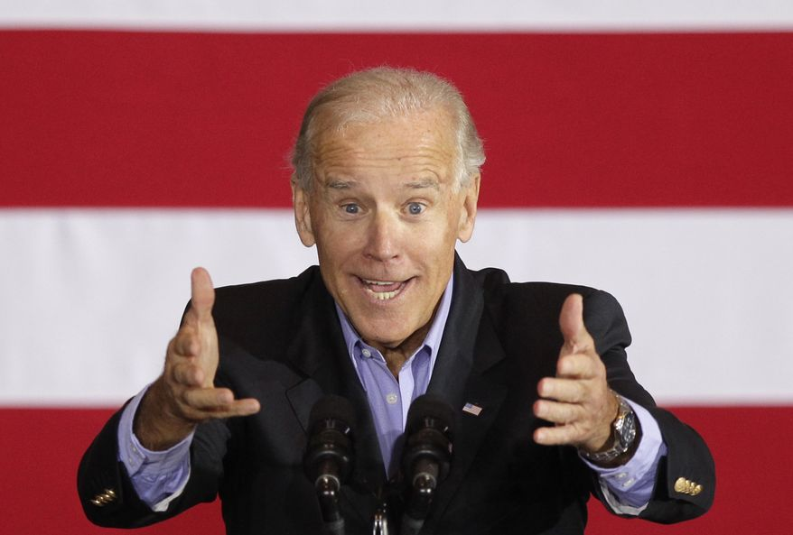 Vice President Joseph R. Biden speaks  Oct. 4, 2012, in Council Bluffs, Iowa. (Associated Press)