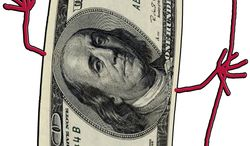 Illustration Devil Money by John Camejo for The Washington Times