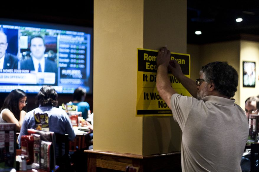 Volunteers put up signs to line the walls during a watch party put on by the Arlington Young Democrats and the Arlington County Democratic Committee at Bailey's Pub in Ballston Common Mall, Ballston, Va., Wednesday, Oct. 3, 2012. (Craig Bisacre/The Washington Times)