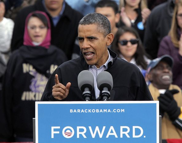 President Obama speaks at a campaign rally in Denver on Oct. 4, 2012. (Associated Press)