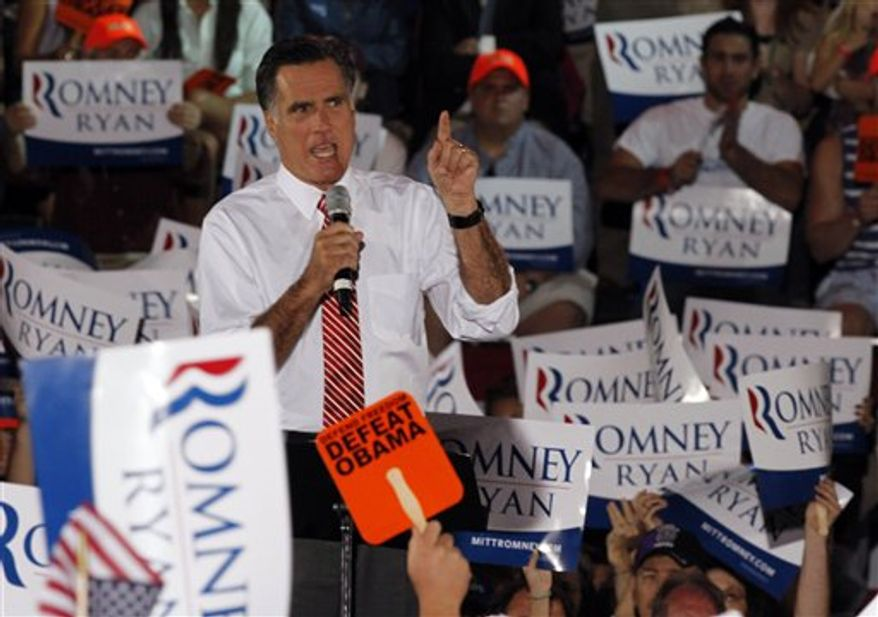 Republican presidential candidate Mitt Romney gestures during a rally in Fishersville, Va., on Thursday, Oct. 4, 2012. (AP Photo/Steve Helber)