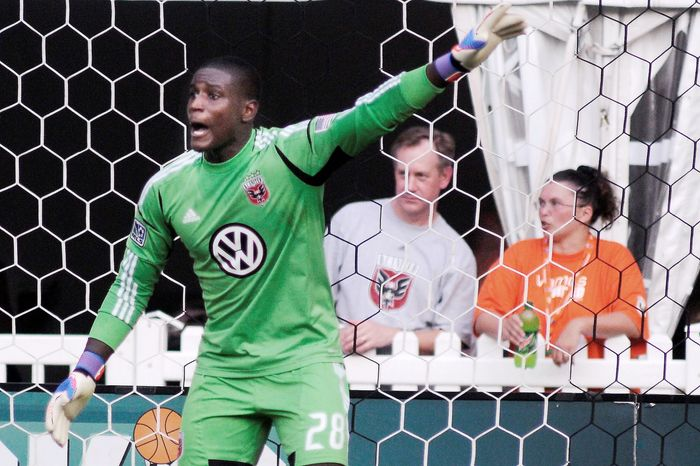 D.C. United keeper Bill Hamid barks out direction during first half action at RFK Stadium in Washington, D.C., on Saturday, June 30, 2012. (Preston Keres/Special to The Washington Times)