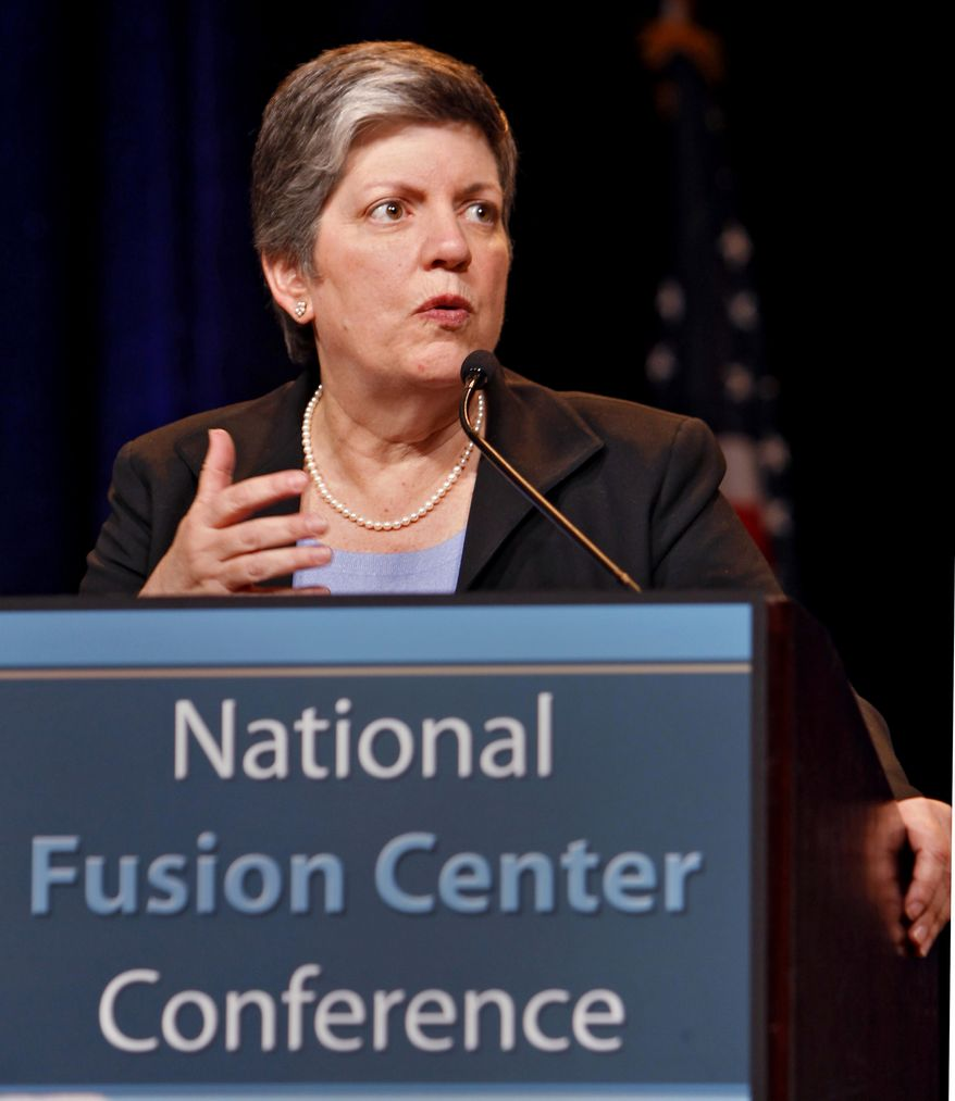 **FILE** Homeland Security Secretary Janet Napolitano speaks March 15, 2011, at the National Fusion Center Conference in Denver. (Associated Press)