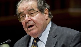 ** FILE ** In this March 8, 2012, file photo, Supreme Court Justice Antonin Scalia speaks at Wesleyan University in Middletown, Conn. (AP Photo/Jessica Hill, File)