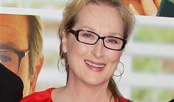"""** FILE ** This Aug. 6, 2012, file photo originally released by Starpix show actress Meryl Streep at the premiere of the Columbia Pictures film """"Hope Springs,"""" at the SVA Theatre in New York. Streep has donated $1 million to The Public Theater in honor of both its late founder, Joseph Pap, and her friend, the author Nora Ephron. (AP Photo/Starpix, Dave Allocca)"""