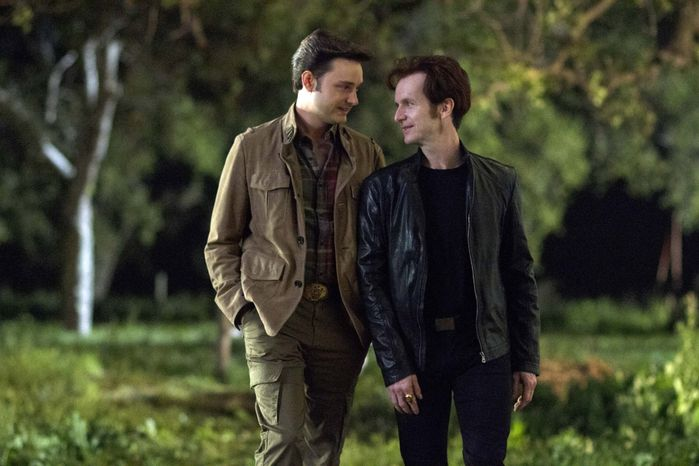 "This image released by HBO shows Michael McMillian (left) and Denis O'Hare in a scene from ""True Blood."" (Associated Press/HBO, John P. Johnson)"