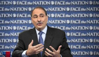 "** FILE ** Obama campaign adviser David Axelrod appears on CBS' ""Face the Nation"" in Washington on Sunday, Oct. 7, 2012. (AP Photo/CBS News, Chris Usher)"