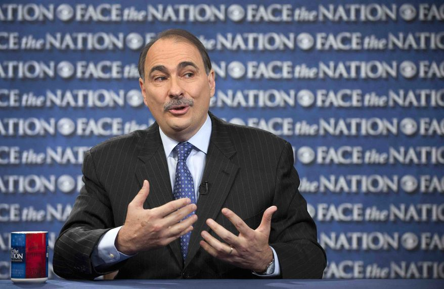 """** FILE ** Obama campaign adviser David Axelrod appears on CBS' """"Face the Nation"""" in Washington on Sunday, Oct. 7, 2012. (AP Photo/CBS News, Chris Usher)"""