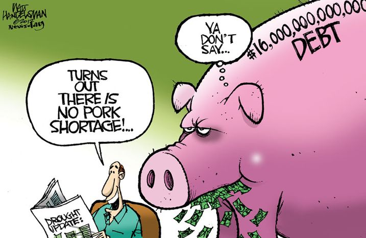 Turns out there is no pork shortage. (Illustration by Walt Handelsman of Newsday)