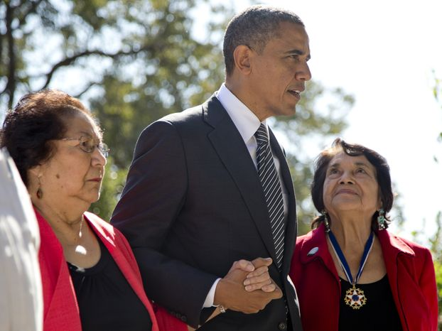President Obama walks with Cesar Chavez's widow, Helen F. Chavez (left), and Dolores Huerta, co-founder of the United Farm Workers, as they tour the Cesar E. Chavez N