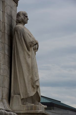 This year marks the 100th anniversary of the National Columbus Memorial and this statue of Christopher Columbus, seen here outside of Union Station in Washington, D.C. on Columbus Day, Monday, Oct. 8, 2012. Every year since the statue was erecte