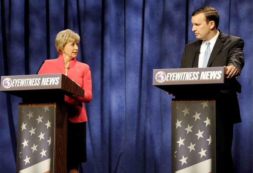 Republican candidate for Senate Linda McMahon addresses her Democratic rival, Rep. Christopher S. Murphy, in an Oct. 7, 2012, debate in Rocky Hill, Conn. The two are vying for the seat from Connecticut being vacated by Sen. Joe Lieberman, an independent. Mrs. McMahon ran unsuccessfully for Senate in 2010. (Associated Press)