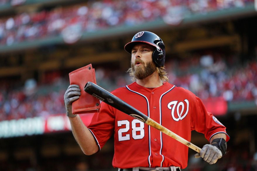 Washington Nationals' Jayson Werth prepares to bat at the start of Game 2 in baseball's National League division series against the St. Louis Cardinals.  (AP Photo/Jeff Roberson)