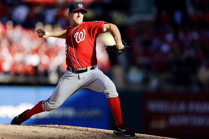 Washington Nationals starting pitcher Jordan Zimmermann throws during the second inning in Game 2. (AP Photo/Jeff Roberson)