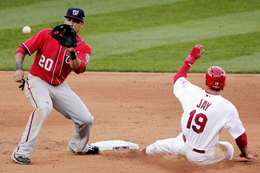 St. Louis Cardinals' Jon Jay (19) beats the tag by Washington Nationals shortstop Ian Desmond to steal second during the fourth inning of Game 2. (AP Photo/Charlie Riedel)