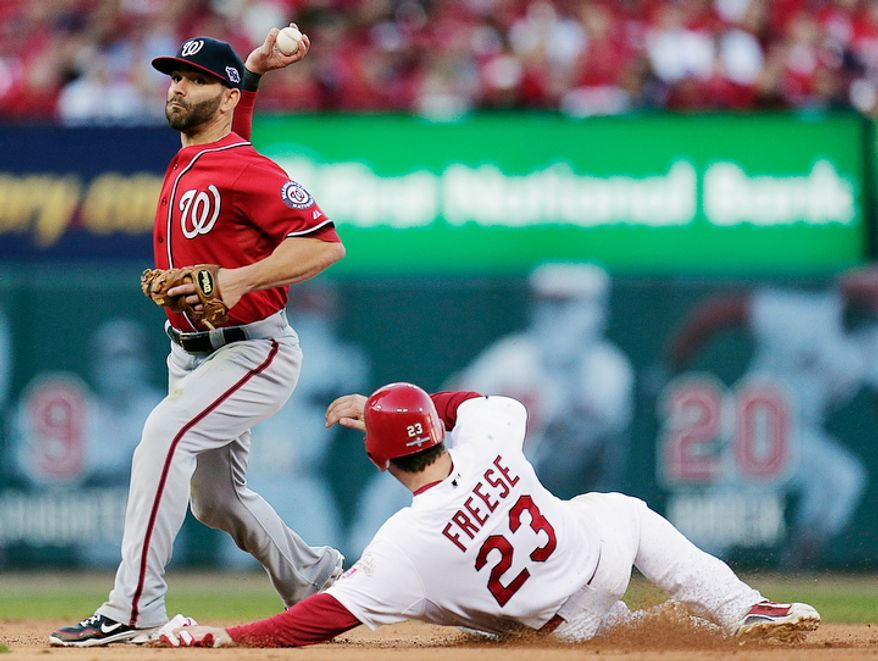 Washington Nationals second baseman Danny Espinosa throws to first for the double play hit into by St. Louis Cardinals' Daniel Descalso after forcing David Freese (23) out at second during the fifth inning of Game 2. (AP Photo/Charlie Riedel)