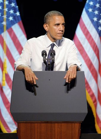 "**FILE** President Obama speaks Oct. 7, 2012, at the ""30 Days to Victory"" fundraising concert in Los Angeles. (Associated Press)"