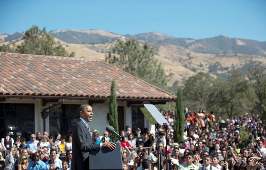 President Obama speaks Oct. 8, 2012, at the Cesar E. Chavez National Monument in Keene, Calif. (Associated Press)