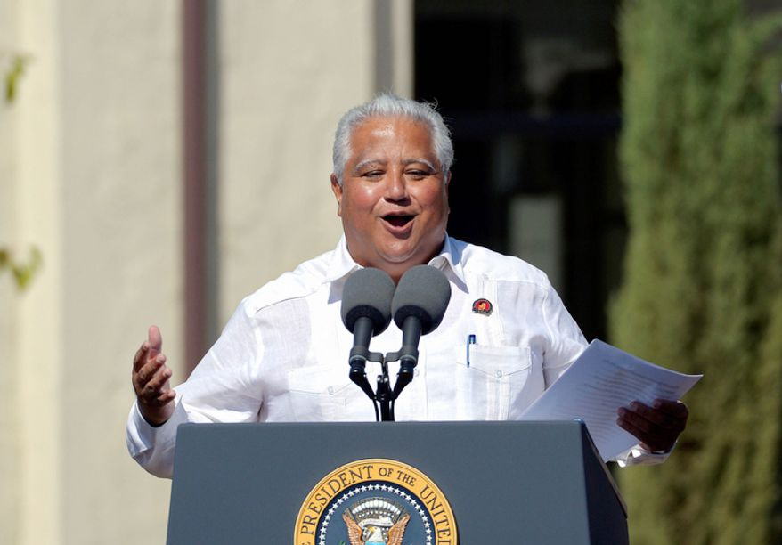 Paul Chavez, son of civil rights icon Cesar Estrada Chavez, speaks Oct. 8, 2012, before President Obama announced the establishment of the Cesar E. Chavez National Monument in Keene, Calif. The property is recognized worldwide for its historic link to Chavez and the farm worker movement. (Associated Press)