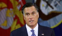 ** FILE ** Republican presidential candidate Mitt Romney delivers a foreign policy speech at the Virginia Military Institute in Lexington, Va., on Oct. 8, 2012. (Associated Press)