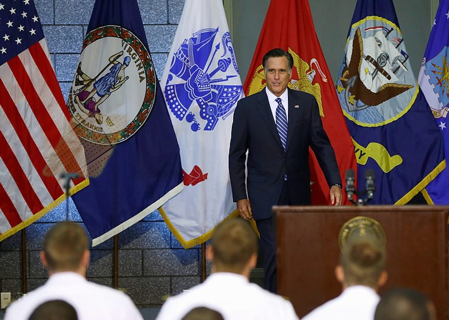 Republican presidential candidate Mitt Romney arrives to deliver a foreign policy speech at the Virginia Military Institute in Lexington, Va., on Monday, Oct. 8, 2012. (AP Photo/Charles Dharapak)