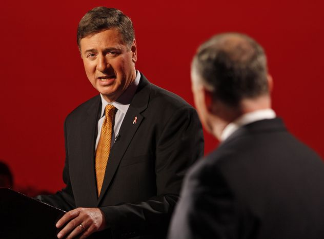 George Allen (left), the Republican candidate for Virginia's Senate seat, gestures during a debate with Democratic challenger Timothy M. Kaine in Richmond, Va., on Oct. 8, 2012. (Associated Press)