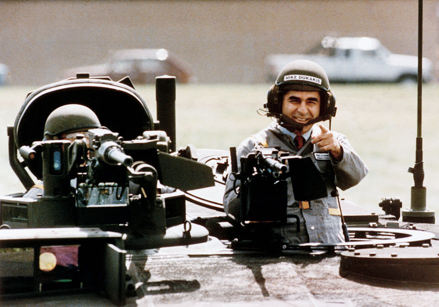 In September 1988, less than two months before Election Day, Democratic presidential candidate Michael Dukakis took a memorable ride in a new M1-A-1 battle tank. (Associated Press)