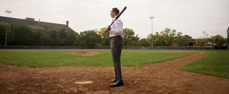 D.C. Mayor Vincent C. Gray stands at the plate at Brentwood Hamilton Field in Northeast, a diamond where he played as a child. His favorite Washington p
