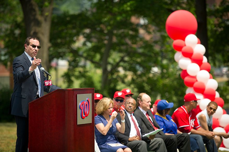Washington D.C. Mayor Vincent C. Gray offers remarks supporting the project, during the Washington Nationals Youth Baseball Academy groundbreaking ceremony at Fort DuPont Park in Washington, D.C., Tuesday, May 31, 2011. (Rod Lamkey Jr./The Washington Times)